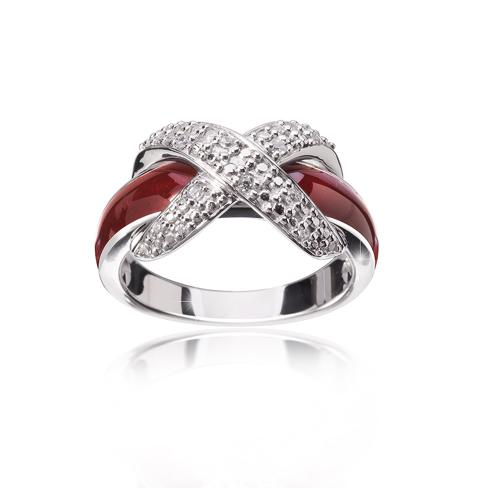 MATERIA Emaille Ring Schleife 925 Silber Zirkonia bordeaux 16-20mm