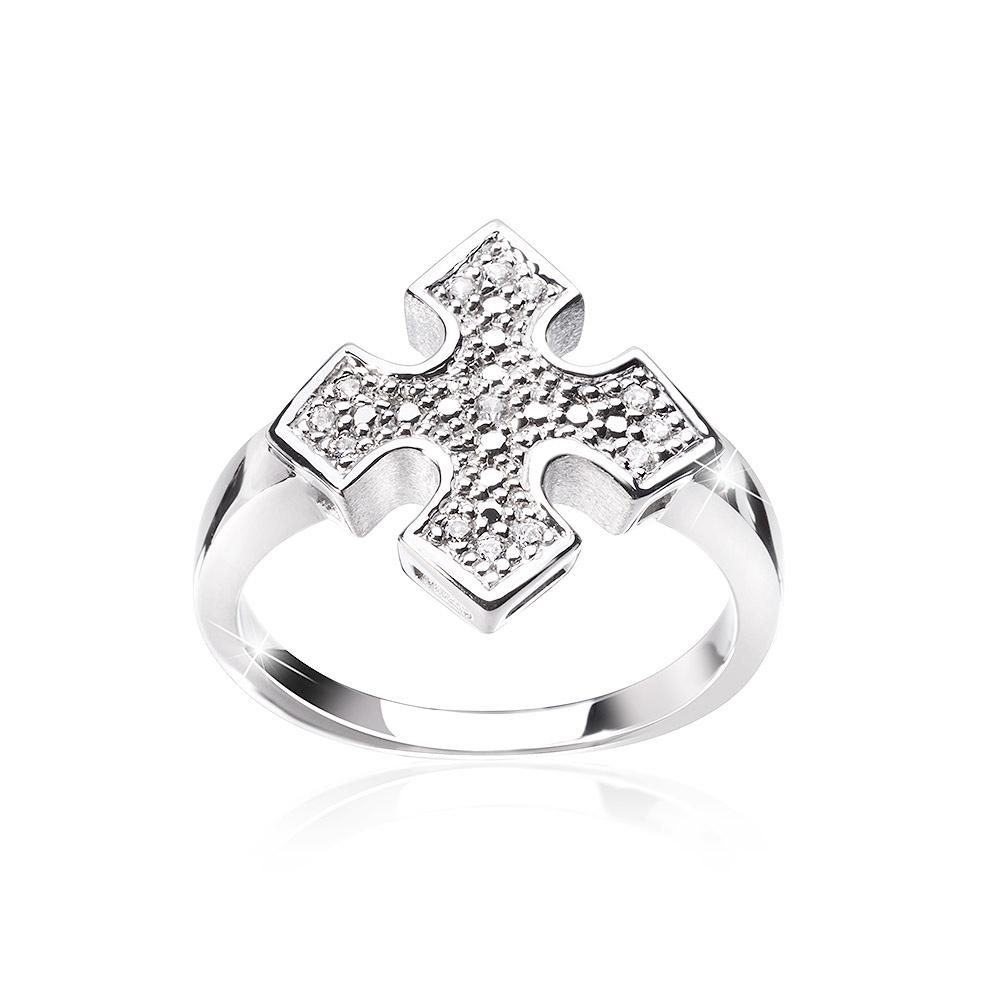 MATERIA Damen Ring Kreuz 925 Silber Zirkonia heraldisch