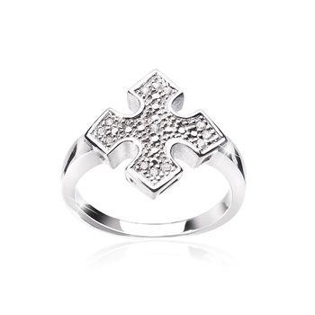 MATERIA Damen Ring Kreuz 925 Silber Zirkonia heraldisch rhodiniert inkl. Schmuckbox #SR-154_B4