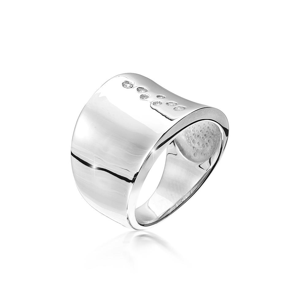 MATERIA Damen Bandring 925 Silber Zirkonia breit rhodiniert