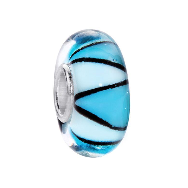 MATERIA Murano Glas Beads Anhänger Zickzack 925 Silber blau für Beads Armband #237