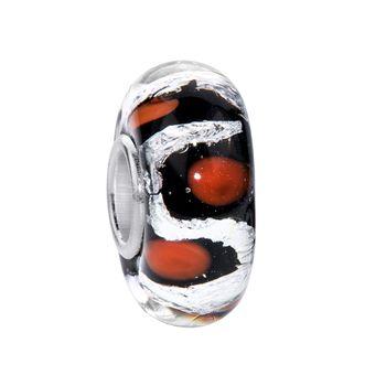 MATERIA Murano Glas Beads Anhänger Punkte 925 Silber Glitzer schwarz rot für Beads Armband #162