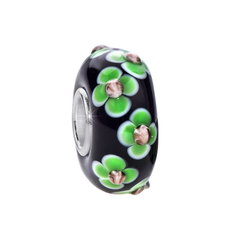 MATERIA 3D Murano Glas Bead Anhänger Blume 925 Silber violett grün für Beads Armband #168