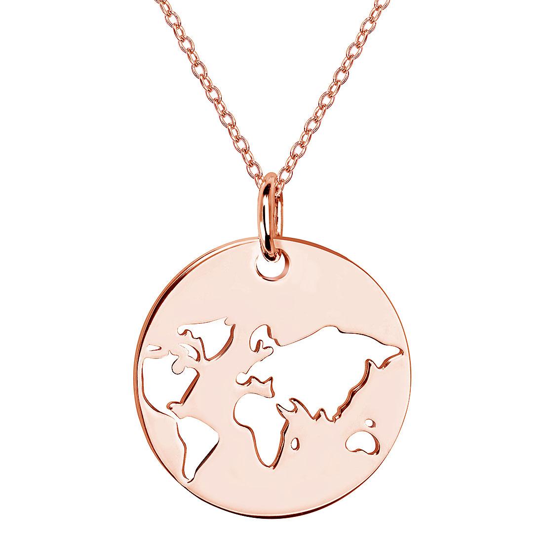 MATERIA Rosegold Anhänger Weltkarte Globus mit Kette 925 Silber vergoldet