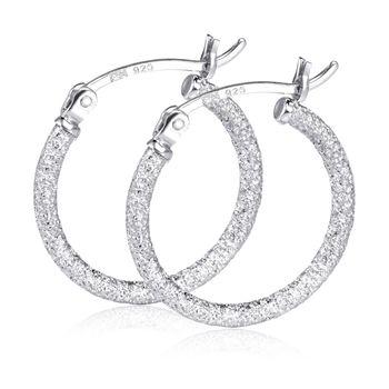 MATERIA Creolen Silber 925er 20mm - Glitzer Ohrringe Damen rhodiniert diamantiert in Geschenk-Box #SO-357_B4