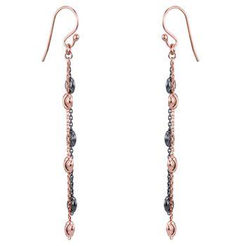 MATERIA 925 Silber Ohrhänger rosegold schwarz - Damen Ohrringe hängend Glitzer 67mm lang in Geschenk-Box #SO-360_B4