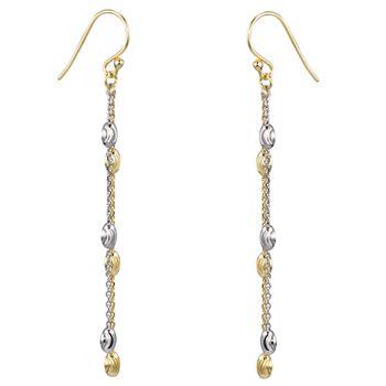 MATERIA Gold Ohrhänger lang bicolor - Damen Ohrringe Hänger Silber 925 vergoldet 67mm lang in Geschenk-Box SO-361_B4