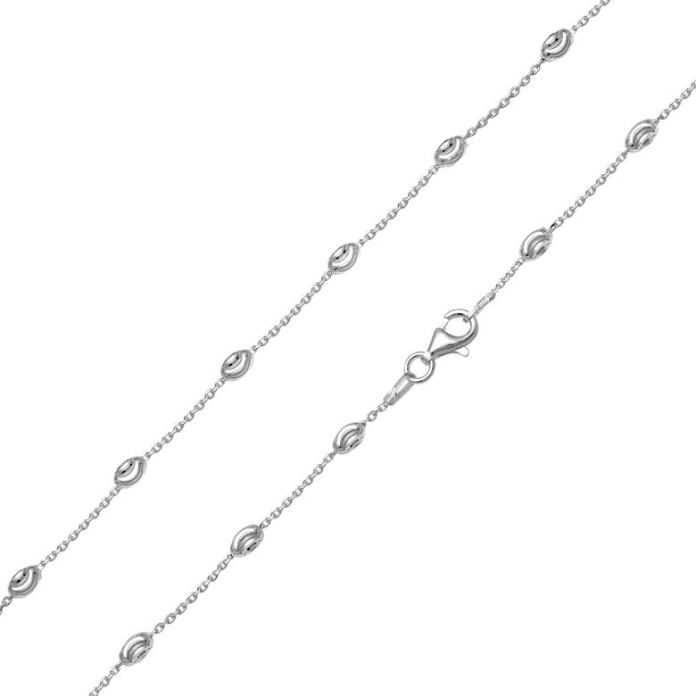 MATERIA Mädchen Damen Halskette Collier 925 Sterling Silber Ankerkette Kugeln 45cm Made in Germany #K90