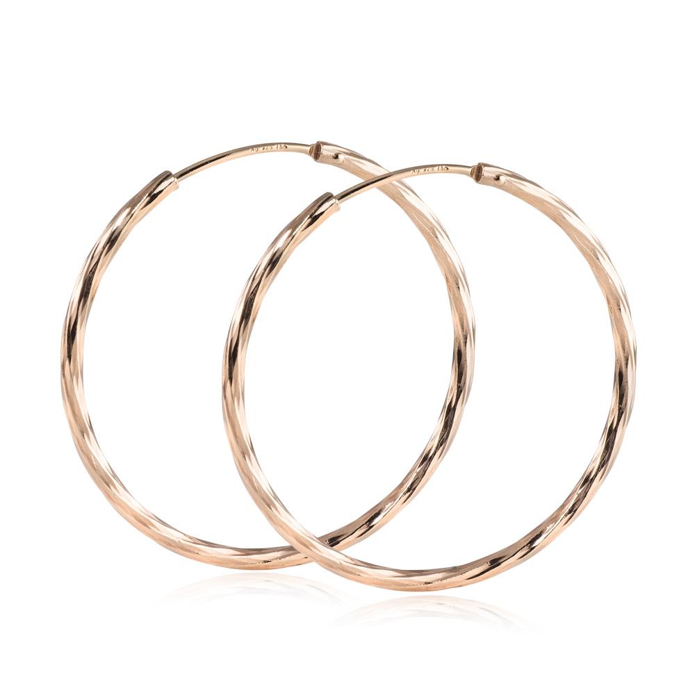 MATERIA Rosegold Creolen Damen 35mm Ohrringe Silber 925 ziseliert