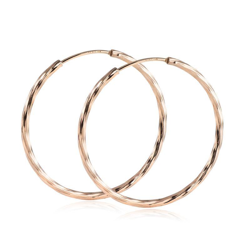 MATERIA Rosegold Creolen Damen 35mm Gold Ohrringe Silber 925 vergoldet ziseliert mit Geschenk-Box #SO-363_B4