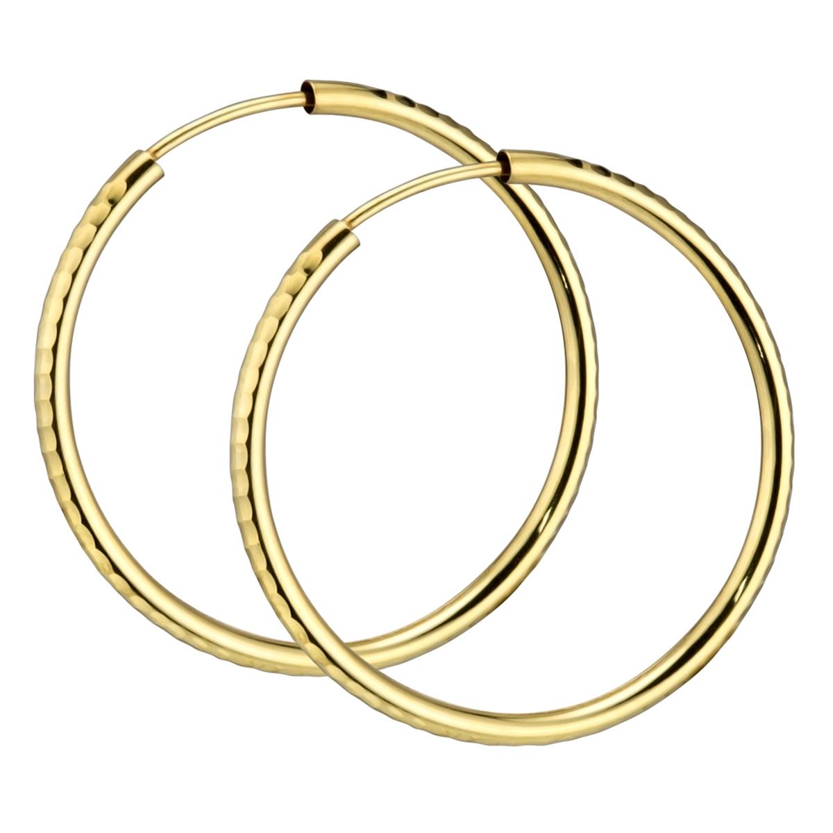 MATERIA Damen Creolen 585 Gold Ohrringe 30mm diamantiert flexibel