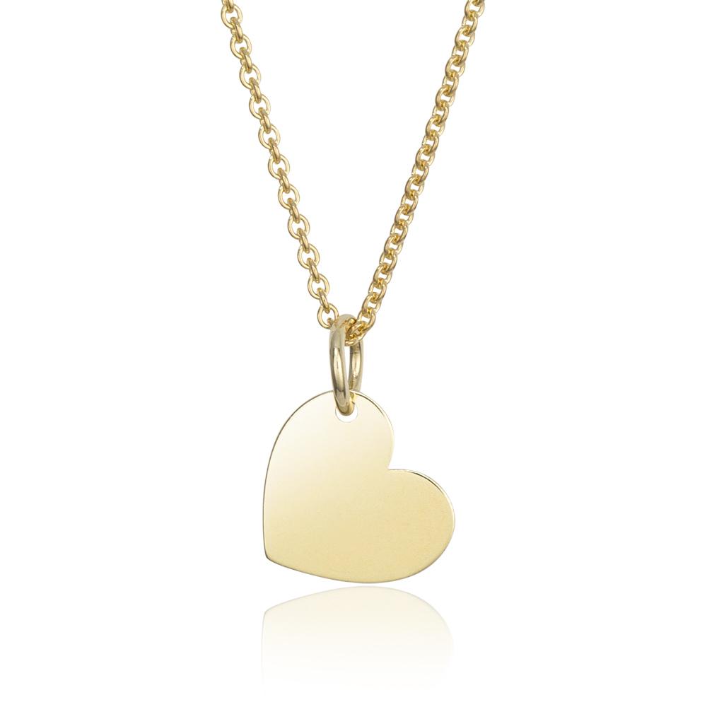 MATERIA Damen Halskette mit Anhänger Gravur Herz Gold 925 Silber