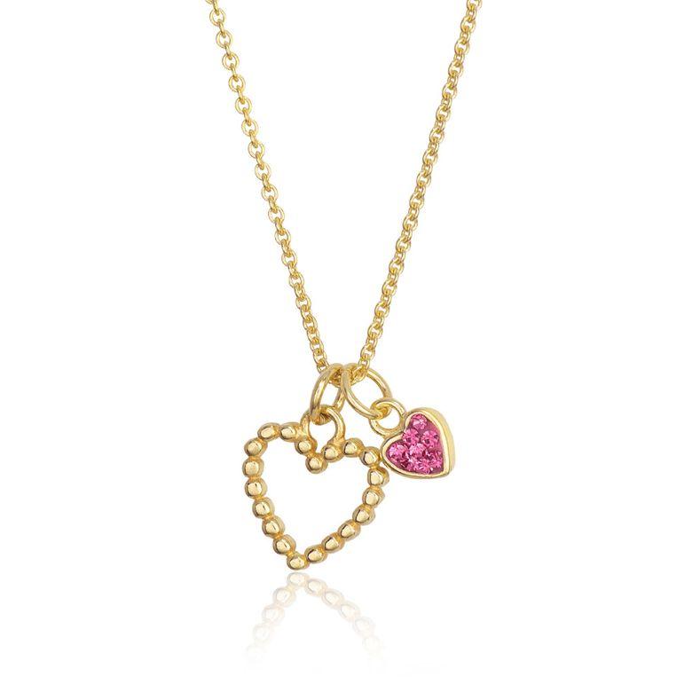 MATERIA Gold Kette mit Anhänger Herz 925 Silber Mädchen Damen Schmuck Liebe Herzkette rosa 42+5cm #KA-443_B4