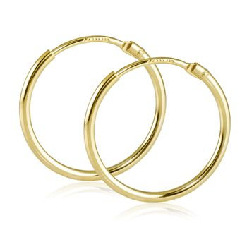 MATERIA Damen Creolen 585 Gold Ohrringe 17mm Goldcreolen klein flexibel mit Geschenk-Box Made in Germany #SO-376_B4