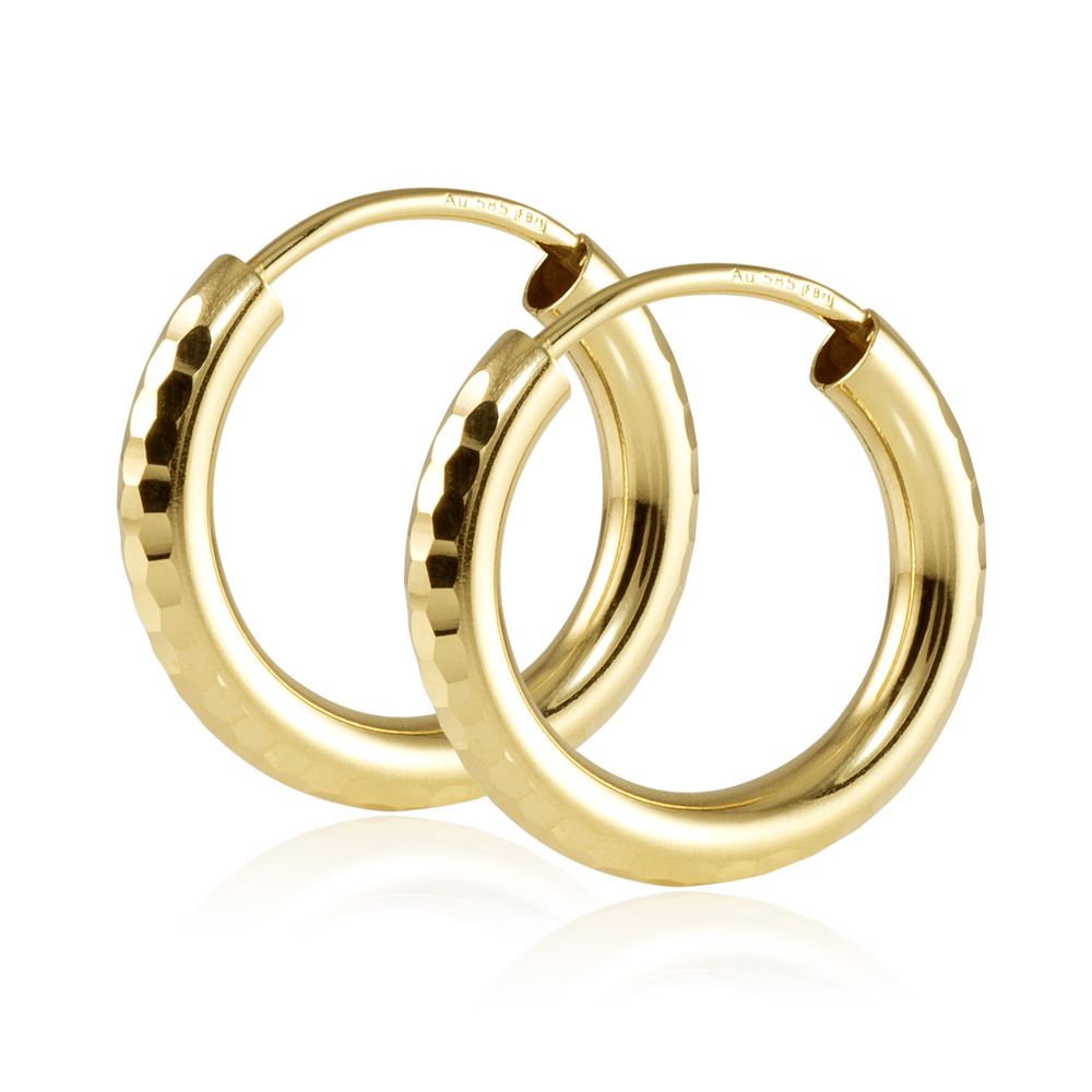 MATERIA Damen Creolen Gold 585 Ohrringe 15mm klein diamantiert