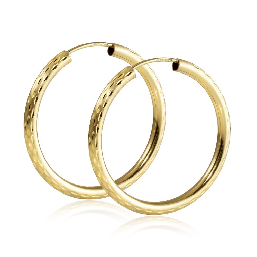 MATERIA Creolen 585 Gold 30mm diamantiert facettiert voll flexibel