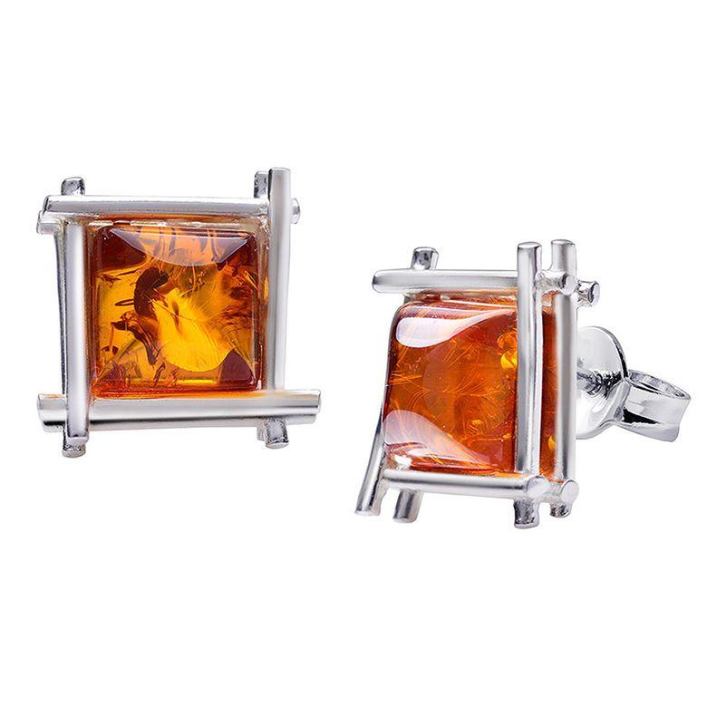 MATERIA Bernstein Ohrstecker Silber 925 Damen braun orange quadratisch rhodiniert + Box #SO-294