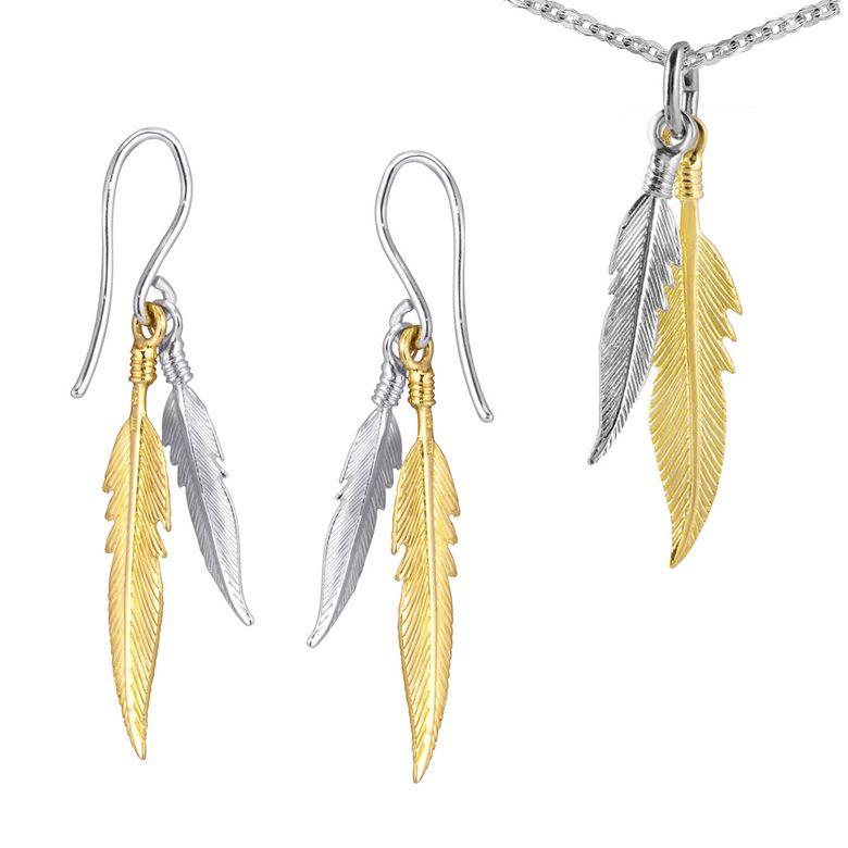 MATERIA Damen Schmuck-Set Federn Silber 925 vergoldet - Gold Anhänger mit Halskette und Ohrhänger
