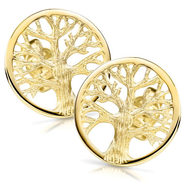 MATERIA Gold Ohrstecker Lebensbaum rund - 925 Silber Ohrringe Gelbgold vergoldet keltisch für Damen Mädchen #SO-380
