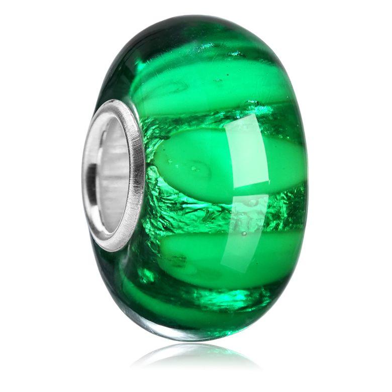 MATERIA Murano Glas Charms Anhänger grün - 925 Silber Muranoglas Schmuck Glasperle für Armband 1702  MATERIA Glas Beads Anhänger schwarz oder gelb - Muranoglas Schmuck Punkte 925 Silber Hülse für Armband