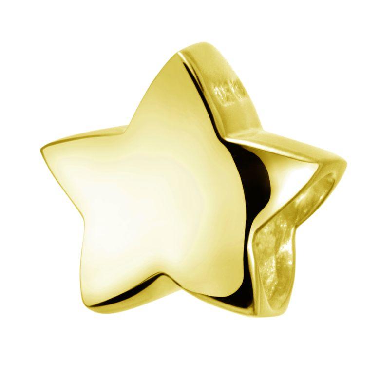 MATERIA Damen Beads Anhänger Stern Gold Charm 925 Silber vergoldet für European Beads Armband #627
