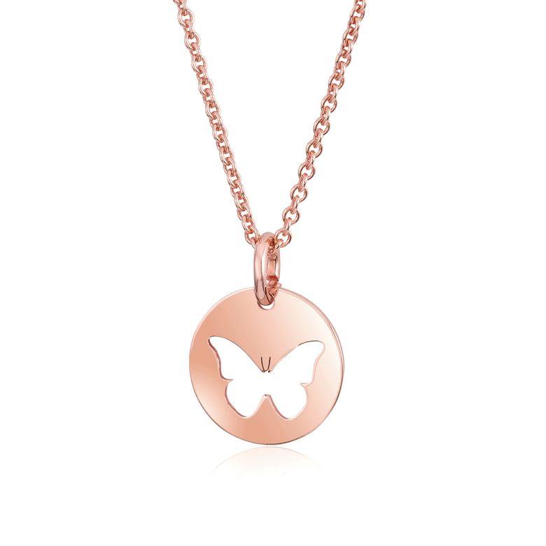 MATERIA Halskette mit Anhänger Schmetterling Rosegold Kette 925er Silber Damen Schmuck 42+5cm #KA-447_B4