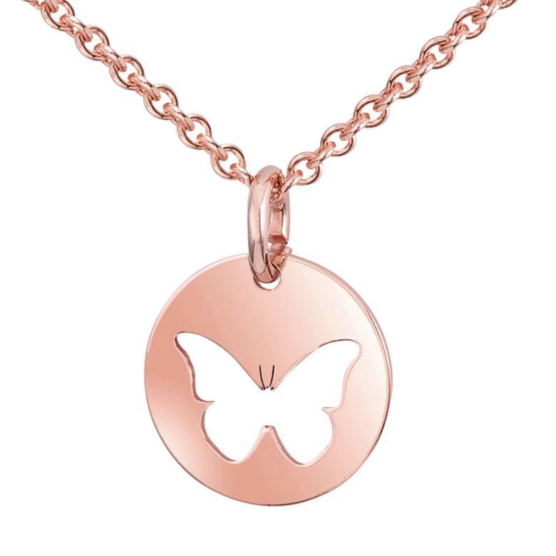 MATERIA Halskette mit Anhänger Schmetterling Rosegold Kette 925er Silber Damen Schmuck 42+5cm #KA-447
