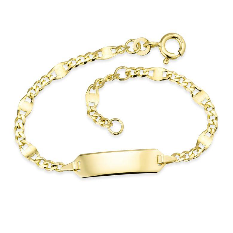 MATERIA Mädchen Baby Armband mit Gravur 585 Gold Armkette Kinder Schmuck 12-14cm Made in Germany #GA-2