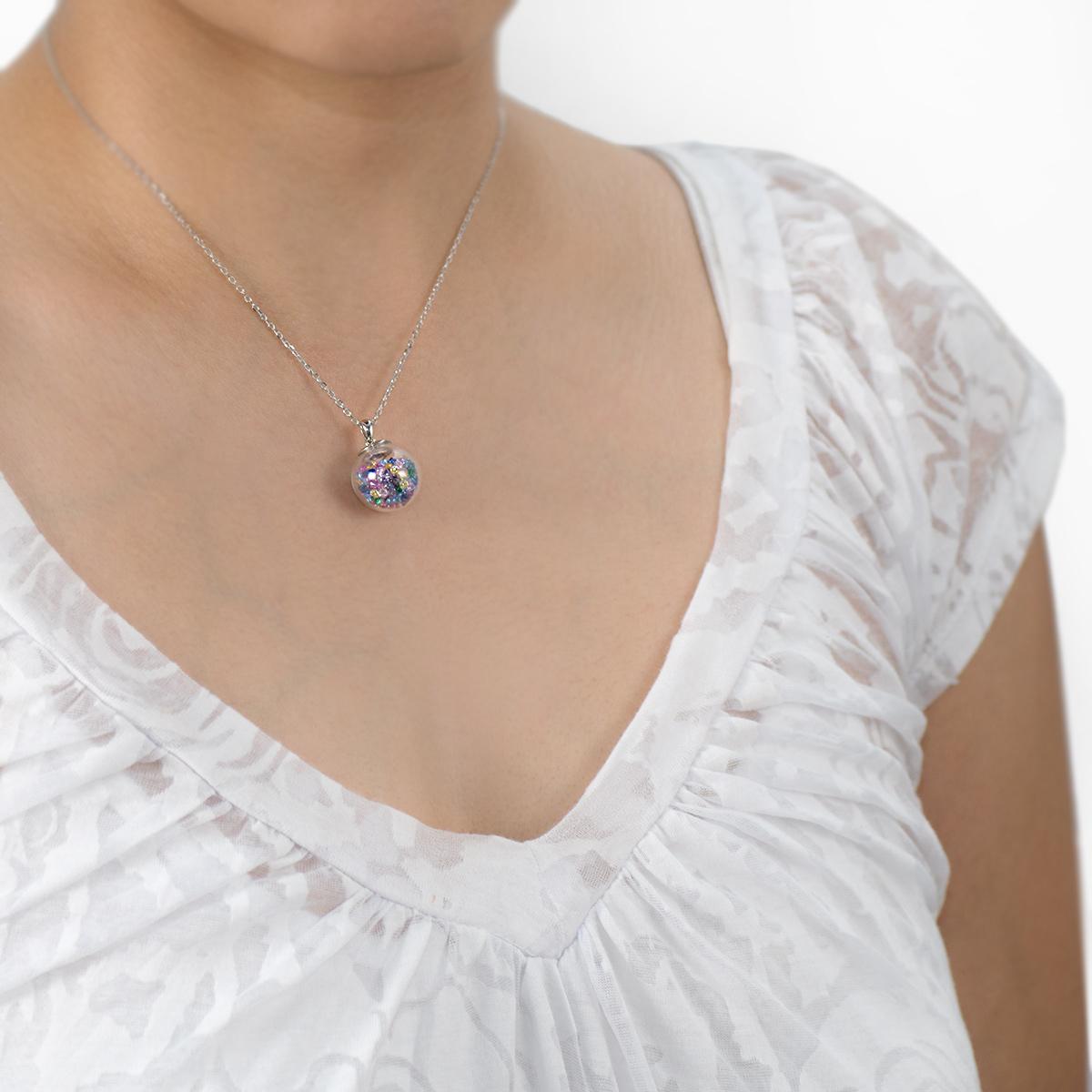 MATERIA 925 Silber Kette mit Anhänger Glas Kugel Damen Mädchen 38 - 43cm