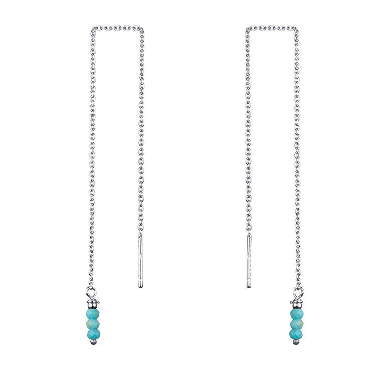 MATERIA Durchzieher Ohrringe Silber 925 mit Edelsteinen in 3 Farben türkis lila weiß-grau 12cm lang SO-381