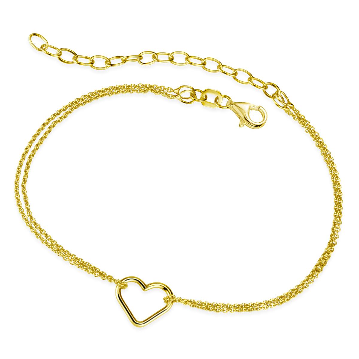 Damen Armkette Herz 925 Silber Armband Kette vergoldet 18-23cm