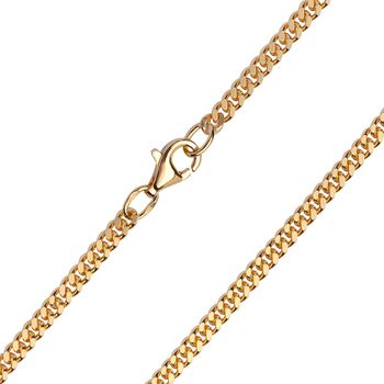 MATERIA Damen Herren Kette 333 Gold - massiv Goldkette Panzerkette 2mm flach 45 50 60 cm - Made in Germany #K99_B4