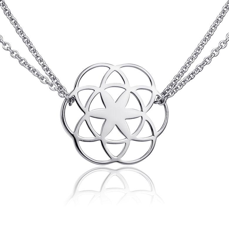 MATERIA Damen Kette Lebensblume Silber 925  - Blume des Lebens Halskette mit Anhänger 42-47cm KA-450-silber