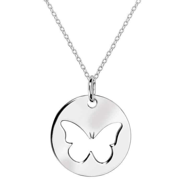 MATERIA Halskette mit Anhänger Schmetterling 925 Silber rhodiniert - Damen Schmuck Kette 42+5cm verstellbar KA-451_B4