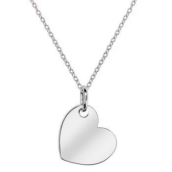 MATERIA Gravur Kette mit Herz Anhänger - 925 Silber Herzkette Liebe rhodiniert mit Wunschgravur 42-45cm in Schmuck Box
