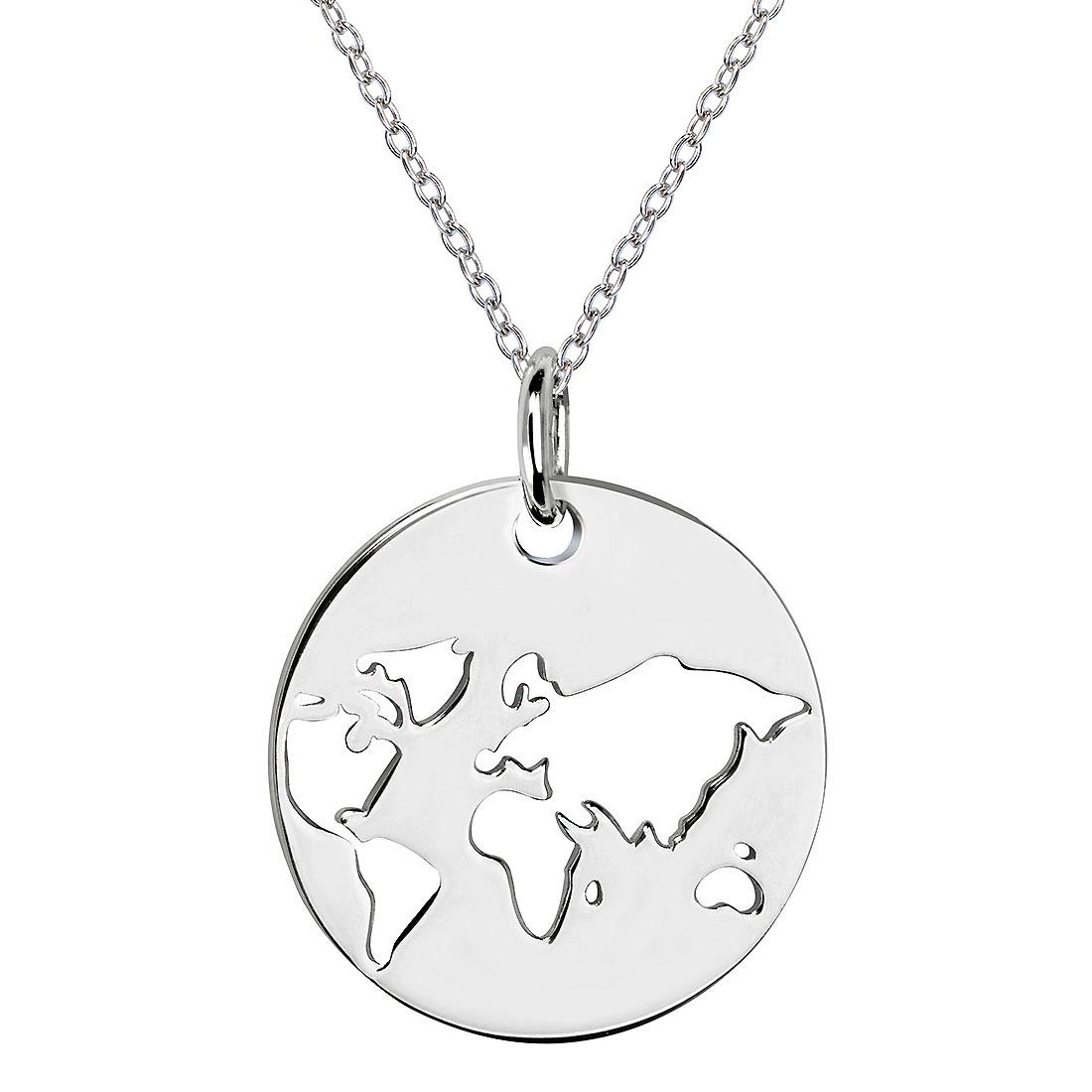 Materia Anhanger Rund Weltkarte Globus Mit Kette 925 Silber Rhodiniert