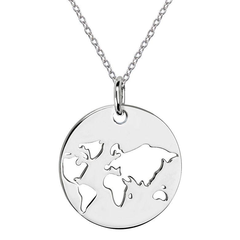 MATERIA Damen Kette mit Anhänger Globus Weltkugel - 925 Silber Schmuck Kettenanhänger rund 42+5cm KA-453