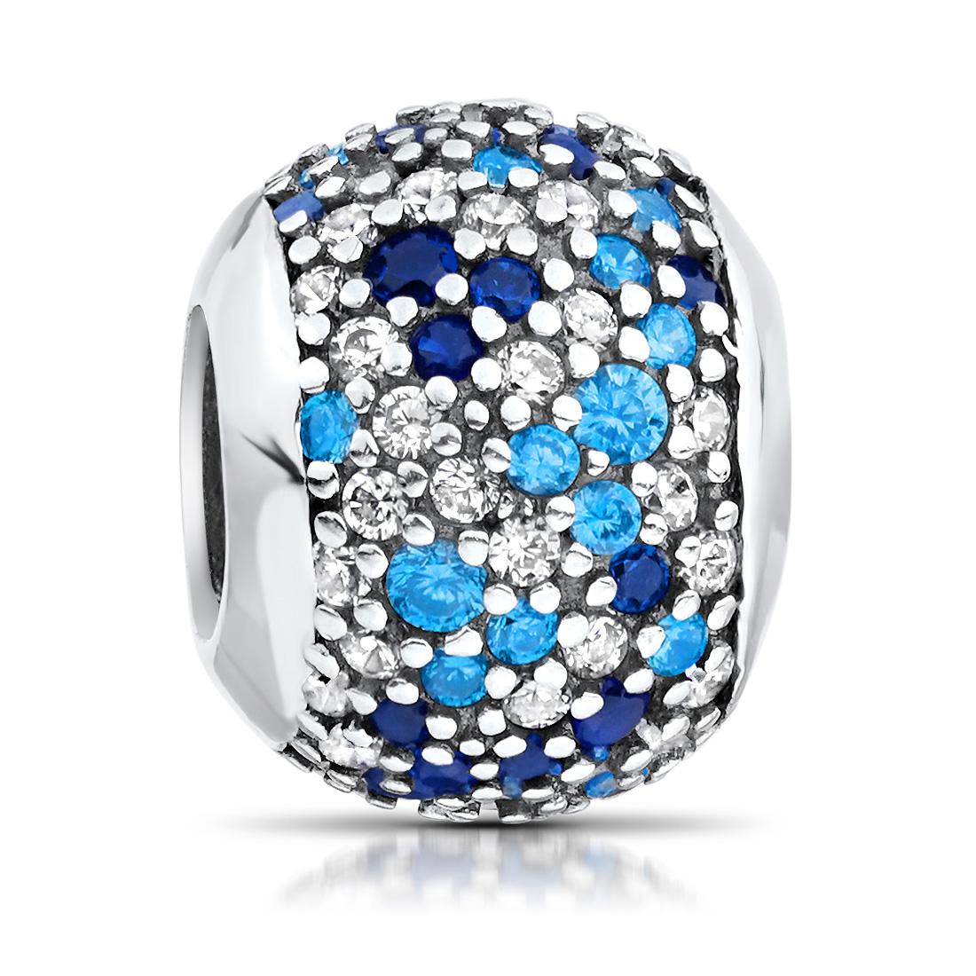 MATERIA Damen Charms  Perle 925 Silber Kugel Zirkonia blau weiß
