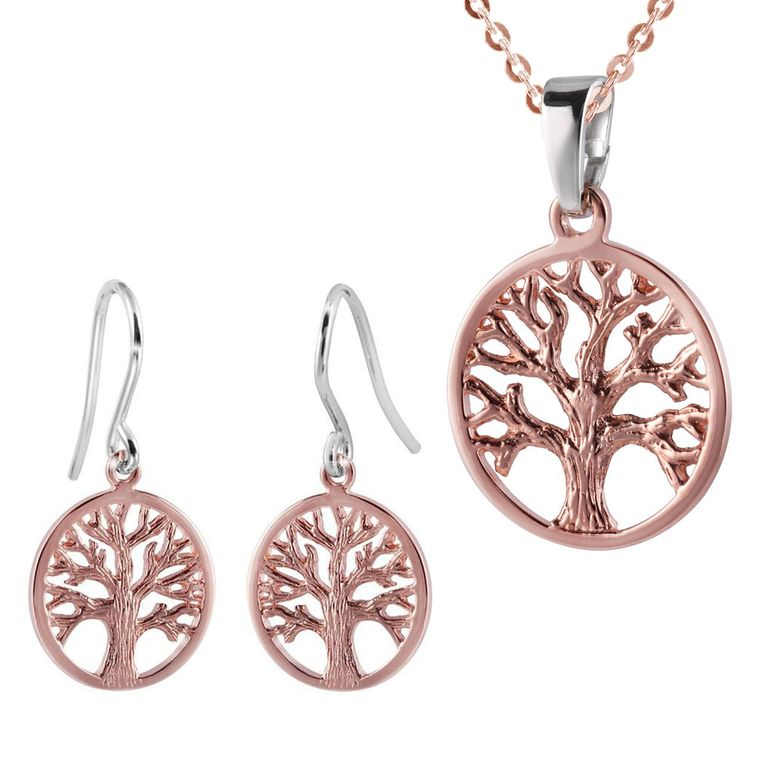MATERIA Lebensbaum Anhänger rund mit Kette und Ohrhänger 925 Silber rosegold vergoldet Damen Schmuck Set keltisch
