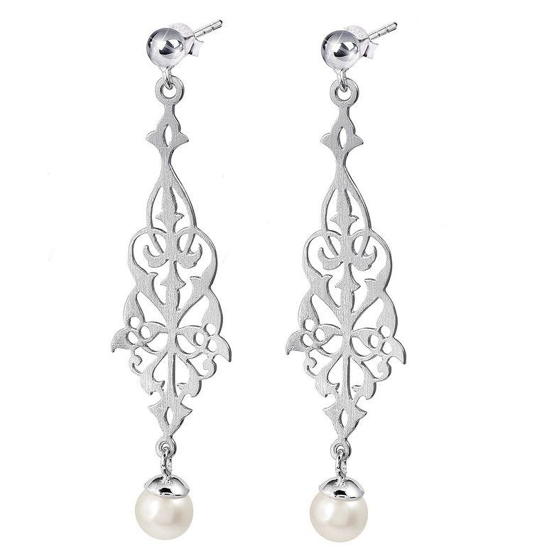 MATERIA Damen Ohrhänger Perlen 925 Silber - Ohrringe hängend Hochzeitsschmuck rhodiniert mattiert mit Box #SO-154