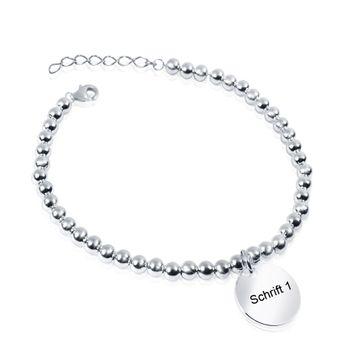 MATERIA Damen Armband Silber 925 wahlweise mit Gravur Kugelkette flexibel Mädchen 16-19cm #SA-11