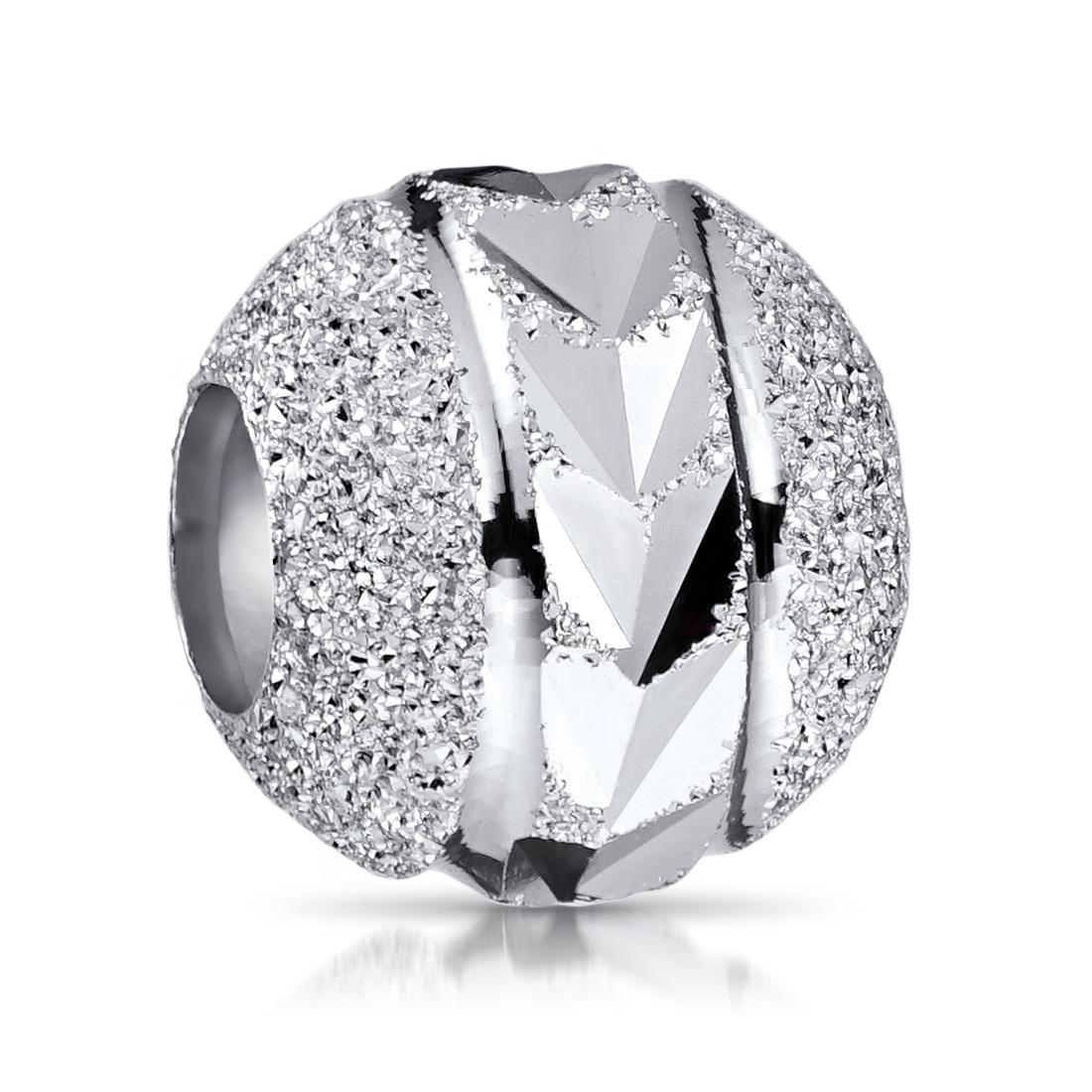 MATERIA Damen Beads Perle 925 Silber Charm Kugel diamantiert