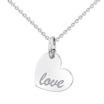 MATERIA Herzkette Silber oder Rose Gold vergoldet aus 925 Silber mit Gravur Anhänger Herz 42-45cm in Geschenk-Etui