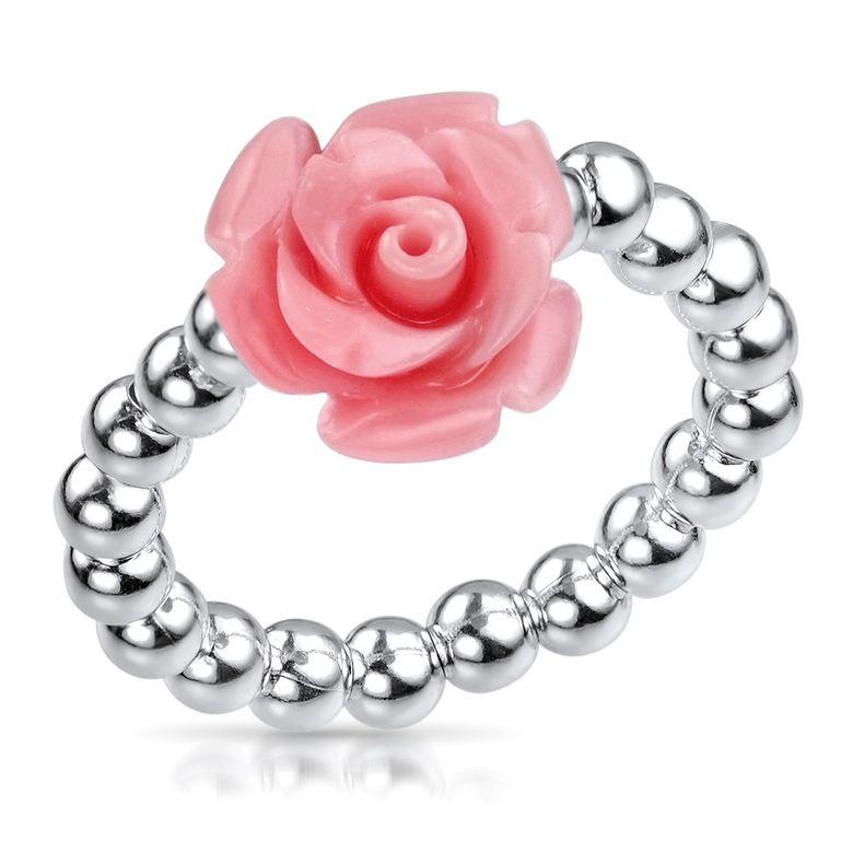 MATERIA Damen Ring Blume rosa 925 Silber - Rosenblüte Silberring 16-19mm verstellbar flexibel in Ringbox SR-57-rosa
