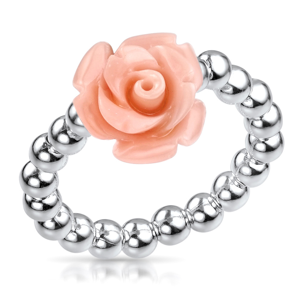 MATERIA Damen Ring Blume Rosenblüte apricot 925 Silber 16-19mm