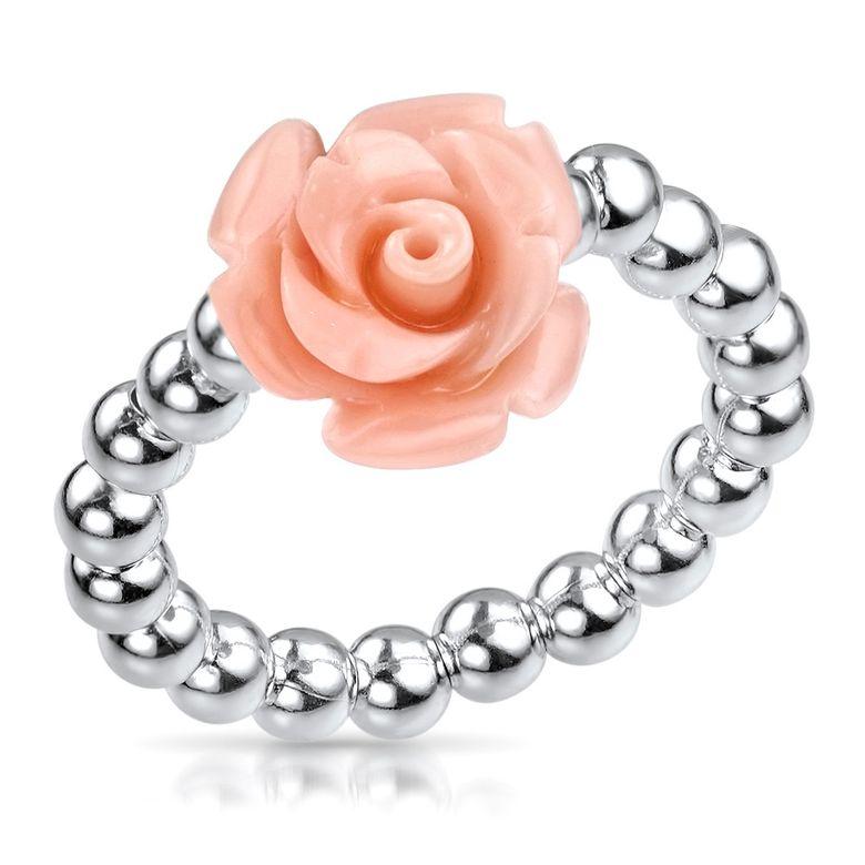 MATEMATERIA Damen Ring Blume Rosenblüte 925 Silber - Silberring apricot 16-19mm verstellbar flexibel SR-57-apricot