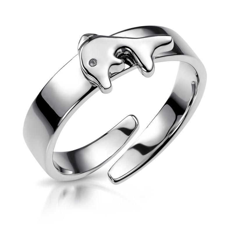 MATERIA Kinder Ring Delphin 13-16mm verstellbar - Mädchen Schmuck 925 Silber Tiere in Geschenk-Box SR-159D