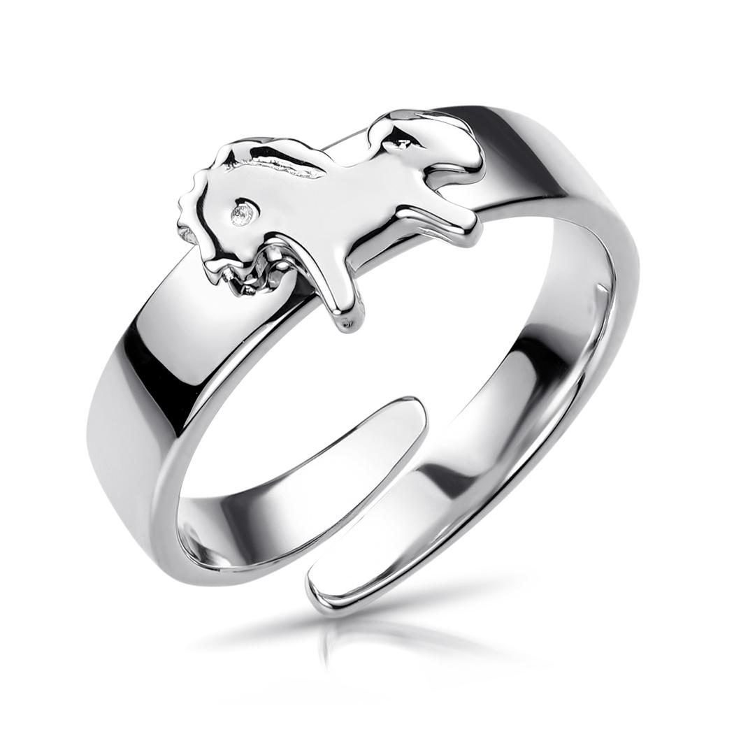 MATERIA Kinder Ring Pferdchen 13-16mm verstellbar 925 Silber