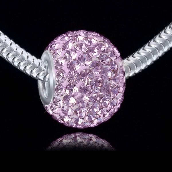 MATERIA 925 Silber Beads Kristall rosa Element 12x16mm - Beads Ketten Anhänger Kugel mit Strass Steinen rosa #1090