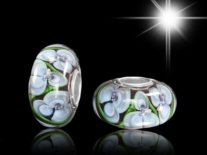 925 Sterling Silber Murano Glas Bead Element Blüten Blumen Lila / Grün - Beads Modell: #960